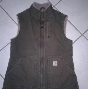 NWOT CARHARTT Mock Neck Sherpa Lined Green Vest